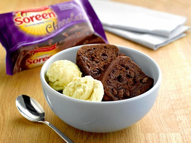 Soreen Chocolate Loaf with vanilla ice-cream