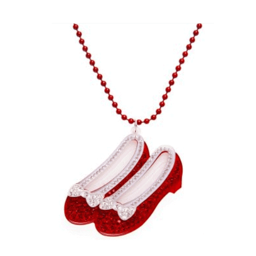 Camille Womens Ladies Fashion Jewellery Ruby Red Diamante Slipper Necklace