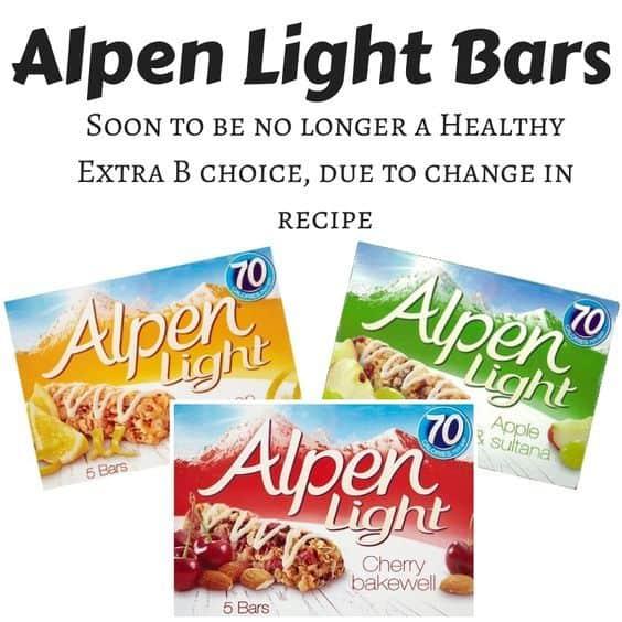 Alpen Light bars no longer a Healthy Extra B choice #SlimmingWorld