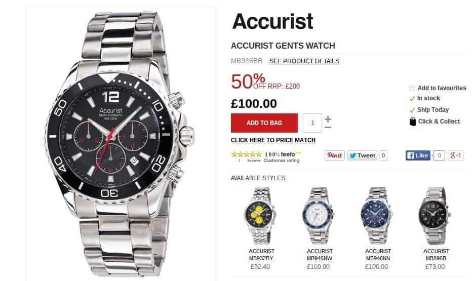 The Watch Hut - Accurist gents watch