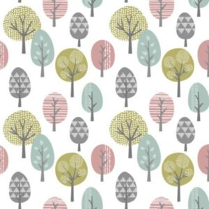Contour Trees Vinyl Duck Egg, Green & Pink Wallpaper