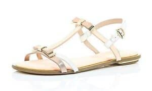 PEACH LEATHER-LOOK BOW TRIM SANDALS