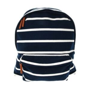 Navy Jersey Striped Backpack