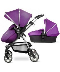 Silver Cross Wayfarer Pram and Pushchair System with Hood & Apron Pack - Damson & Chrome