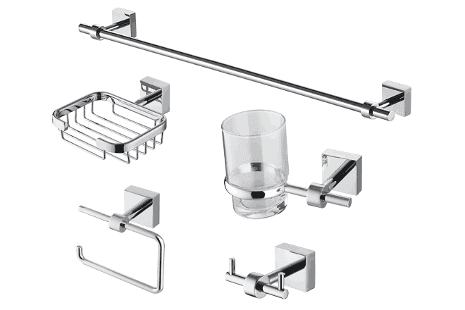 Trezzini 5 piece bathroom accessory set from for Bathroom accessories png