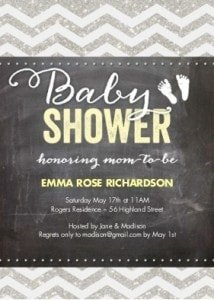 Truprint - Baby Shower Invite Silver Glitter Chevron