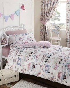 Homemaker Bedding - girls festival camper van bedding and curtains set