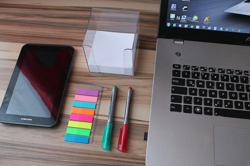 Home office - laptop, tablet, sticky notes