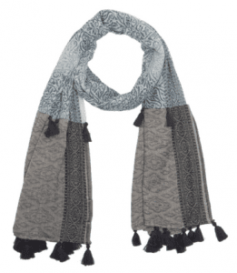 Max & Moi Tasseled Floral Print Scarf in Grey