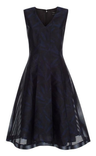 Paul Smith - Blue Women's Black Sheer-stripe Dress With Navy Floral Print
