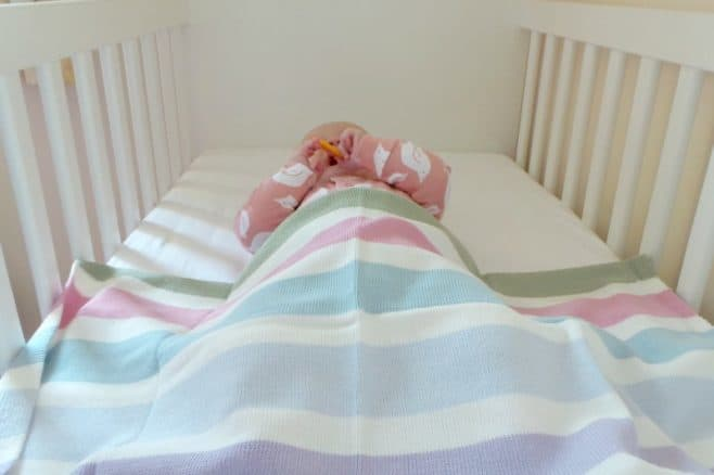 Tivoli Thick Multi Stripe Cotton Blanket - Piglet Laying in Cot