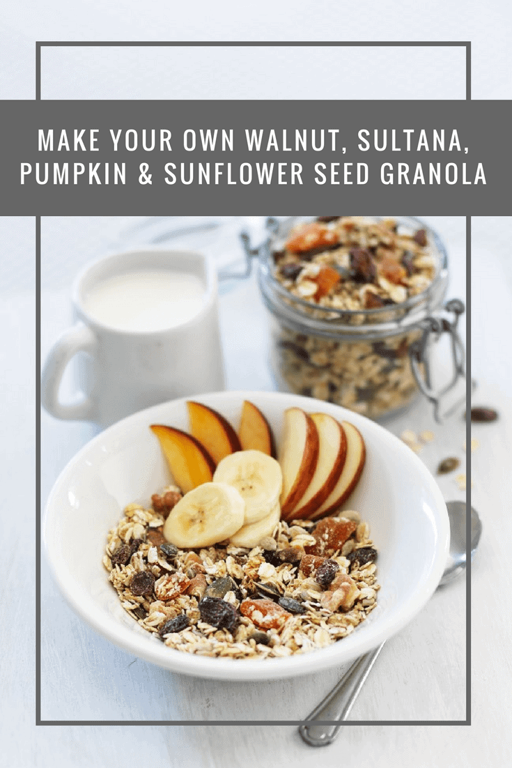 Make your own granola with walnuts, sultanas, pumpkin and sunflower seeds