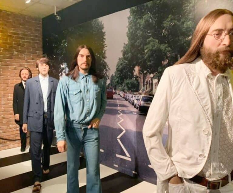 four waxwork figures of The Beatles at Madame Tussauds Blackpool