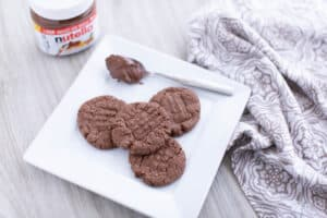 nutella cookies on a white plate