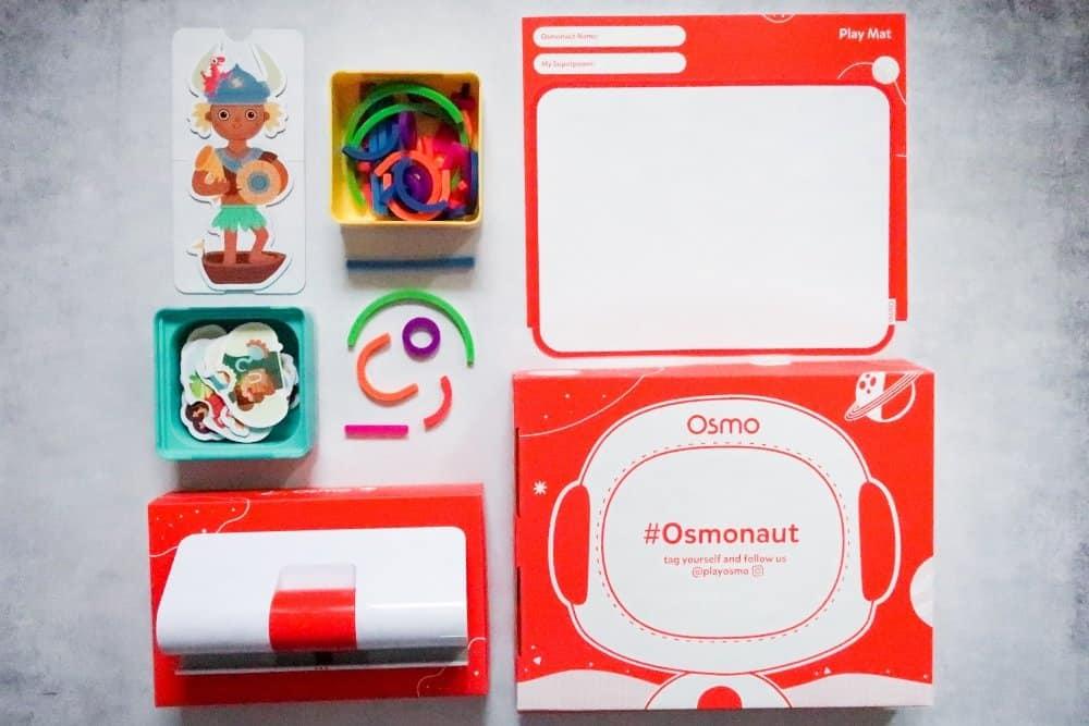 OSMO Little Genius Starter Kit flatlay on a grey background
