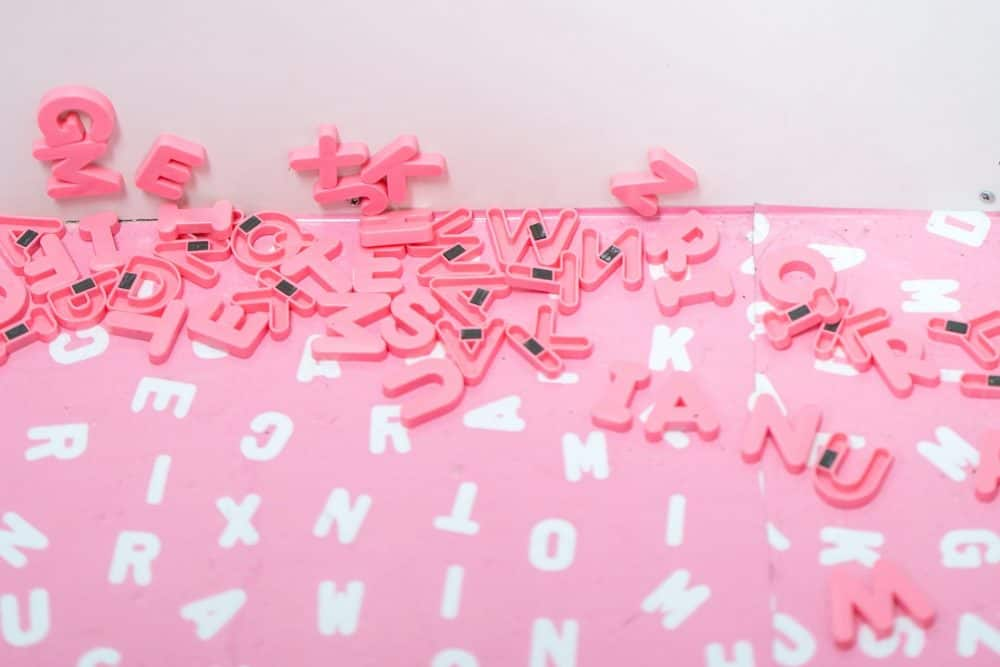 pink magnetic alphabet
