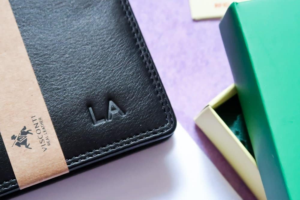 classic leather personalised wallet
