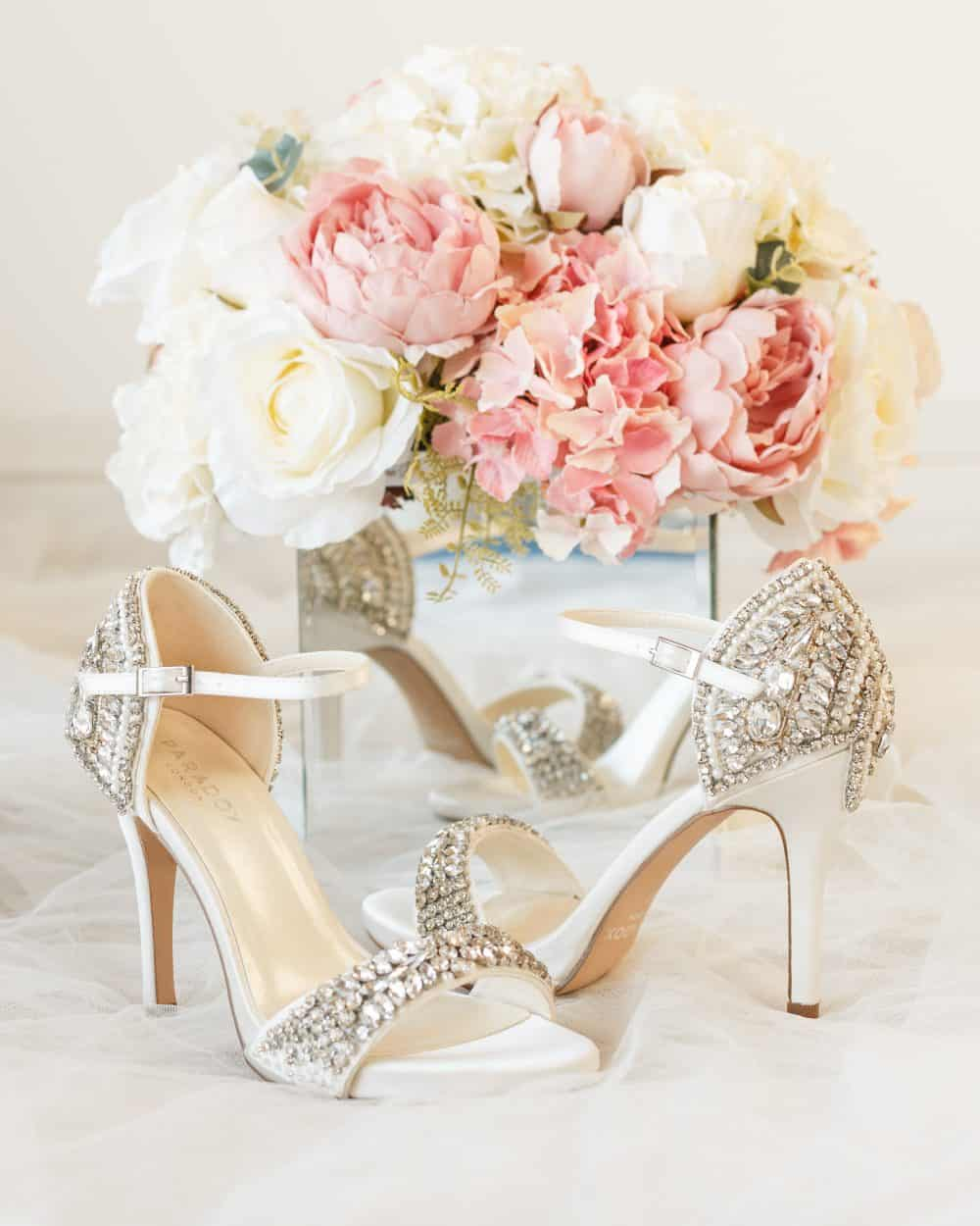 Wedding shoes - Elodie Ivory Satin High Heel Platform Sandal