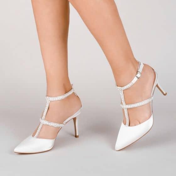 Wedding shoes - Kimberley Ivory Satin High Heel Court Shoes