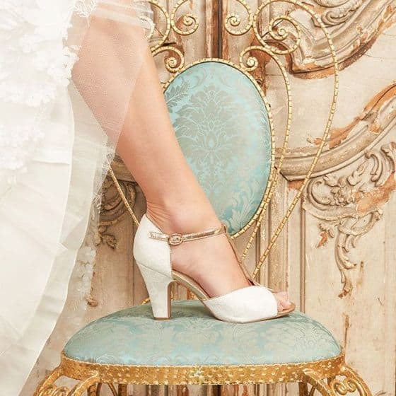 Wedding shoes - Ivory High Heel T-Bar Peep Toes