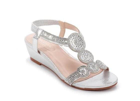 Wedding shoes - Yazzie Silver Glitter T-Bar Wedge Sandal